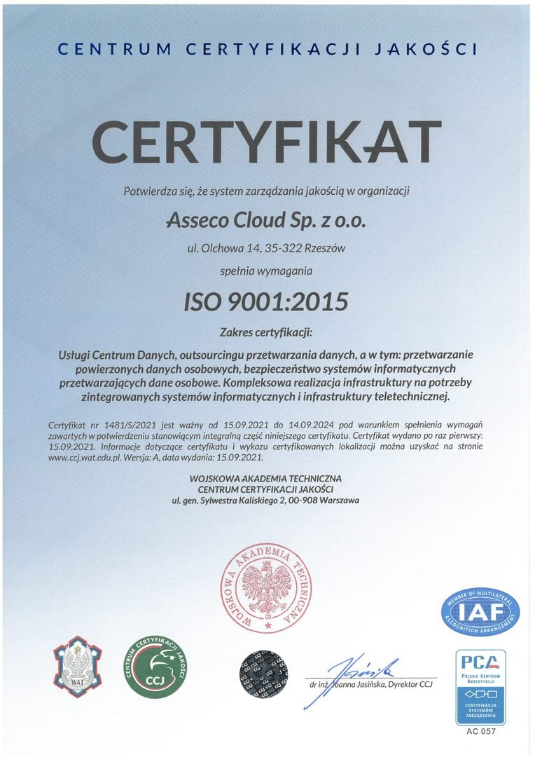 Asseco Cloud ISO 9001:2015