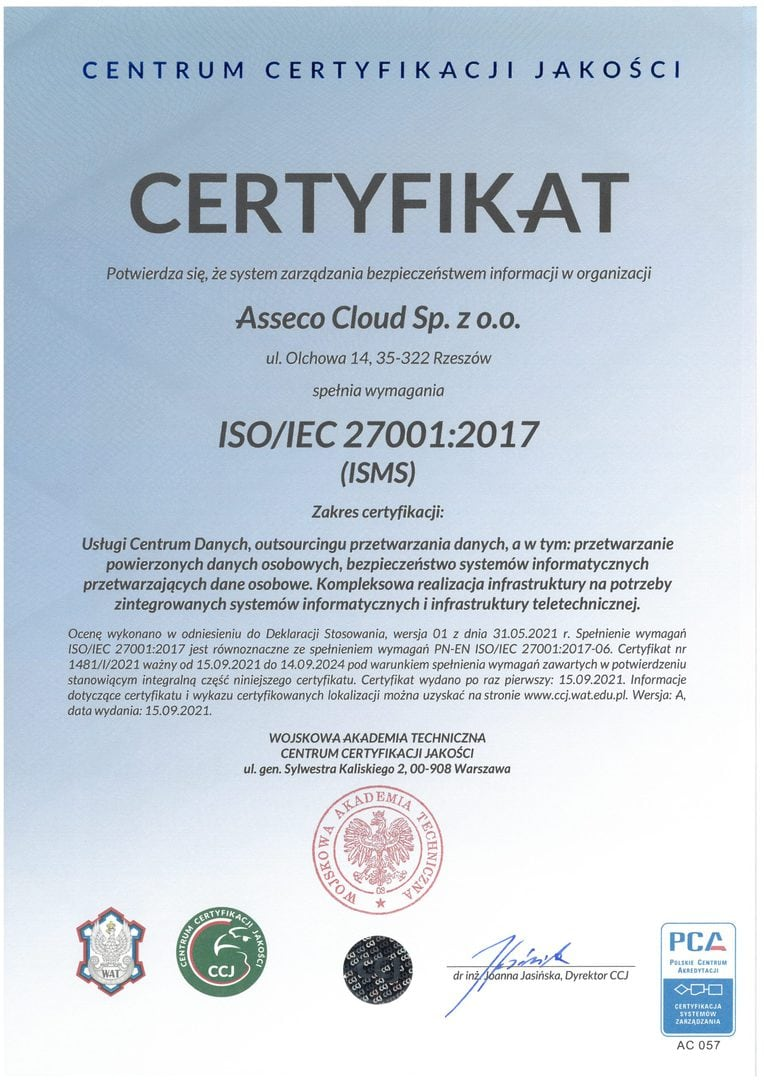 Asseco Poland ISO 27001:2017