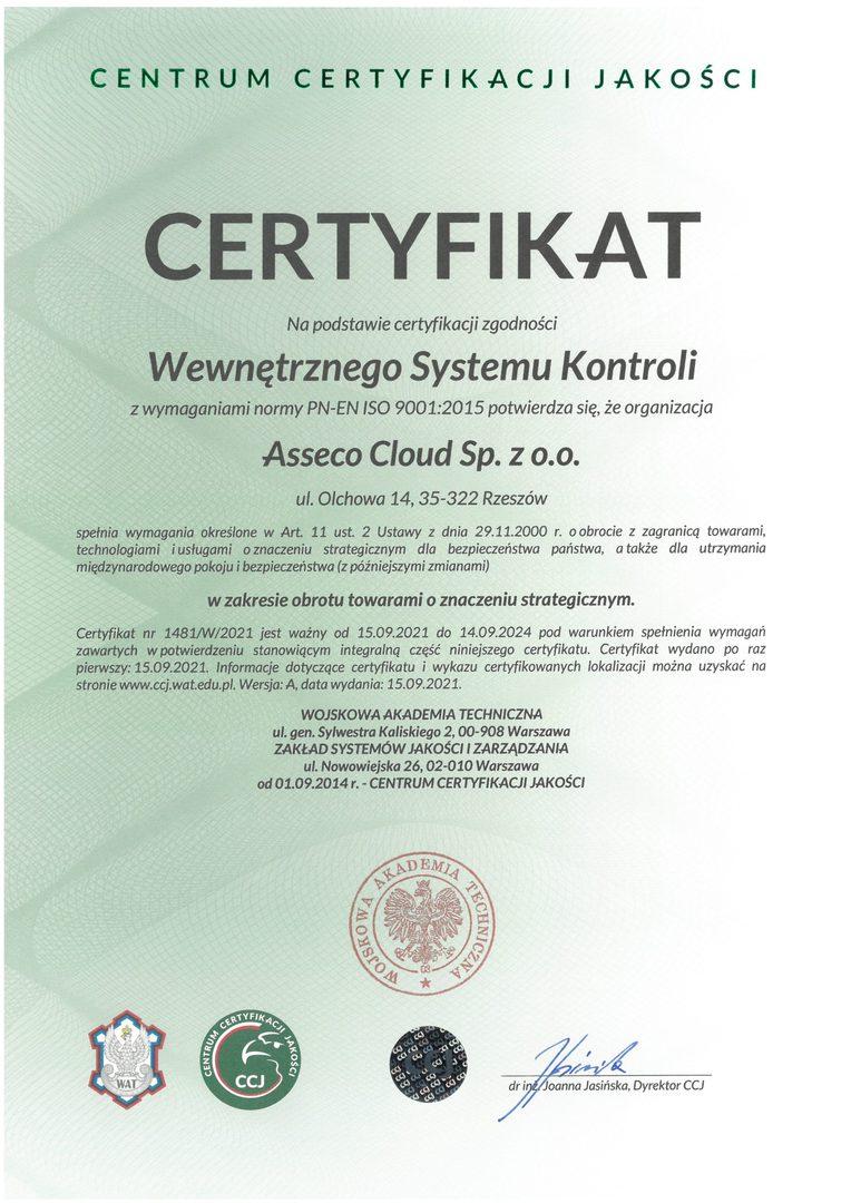 Asseco Cloud Certyfikat Wewnętrznego Systemu Kontroli