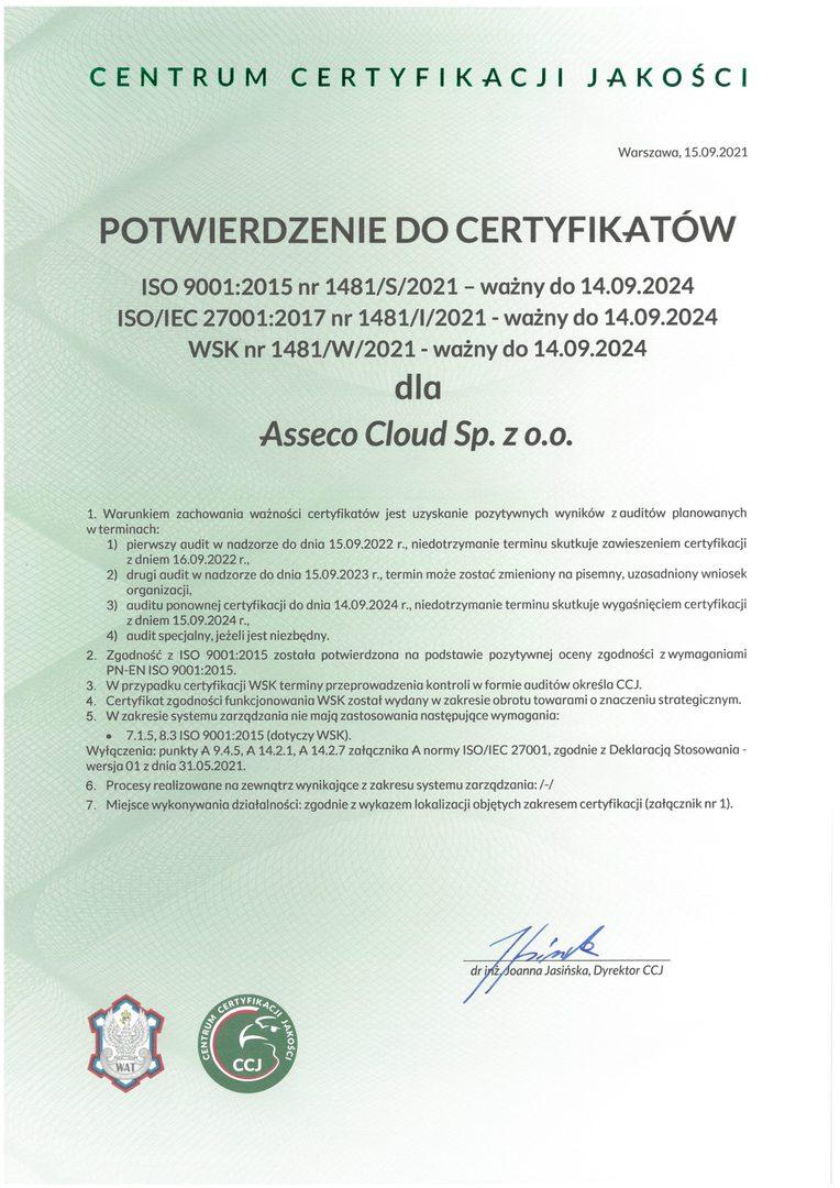 Asseco Cloud Potwierdzenie do Certyfikatów